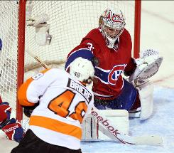 Canadiens goaltender Carey Price, making a save on the Flyers' Danny Briere during the second period, earned his second shutout in the last four games.