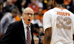 Syracuse Jim Boeheim, yelling instructions to Kris Joseph during the first half, won his 830th career game, tying him for fifth place with Mount St. Mary's Jim Phelan.