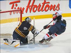 Sabres goalie Ryan Miller, making the stop on Alex Ovechkin's breakaway chance, returned to Buffalo's lineup after missing six games with a hip injury.