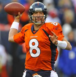 Broncos quarterback Kyle Orton threw a career-high four touchdowns against the Chiefs on Sunday.