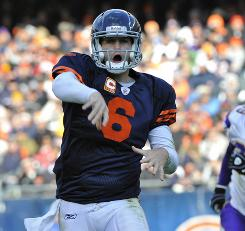 Jay Cutler and the Bears emerged with a share of first place in the NFC North after a win on Sunday made them 6-3.