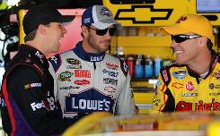 Denny Hamlin (l), four-time defending champion Jimmie Johnson (c) and Kevin Harvick are locked in the tightest points battle NASCAR has had in Sprint Cup since the Chase format was introduced seven years ago.