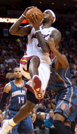 LeBron James lead the Miami Heat to a 95-87 win over the Charlotte Bobcats.  He posted 32 points.