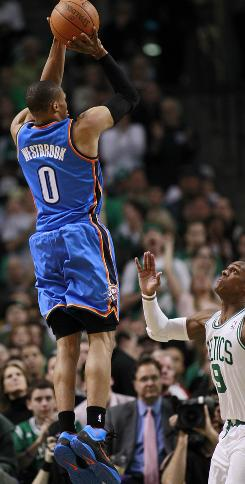 Oklahoma City Thunder guard Russell Westbrook puts up a shot on Friday.  The Thunder beat Boston 89-84.  Westbrook ended with 31 points.