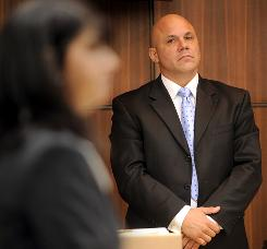 Jim Leyritz watches prosecutor Stefanie Newman during opening testimony in his DUI manslaughter trial on Nov. 1.