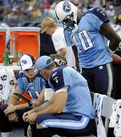 Tennessee Titans quarterback Vince Young had to watch as Rusty Smith finished the game against the Washington Redskins.