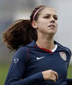 U.S. women's national team forward Alex Morgan practices Nov. 22 in Bridgeview, Ill. The women's team will face Italy Saturday for a berth into next summer's World Cup.