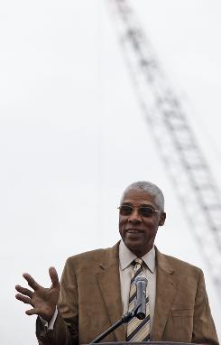 "Hall of Famer Julius ""Dr. J"" Erving, of the Philadelphia 76ers, speaks before a wrecking ball smashed into the Spectrum in Philadelphia."