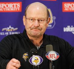 Brad Childress had some rough sledding as his Minnesota Vikings coaching tenure wound down. Here, he addresses the media on Nov. 3.