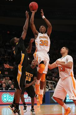 Tennessee's Scotty Hopson shoots the ball against the Virginia Commonwealth Rams during their preseason NIT semifinal at Madison Square Garden in New York City on Wednesday.