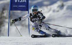 Julia Mancuso of the USA takes 8th place  during the Audi FIS Alpine Ski World Cup Women's Giant Slalom on Saturday.