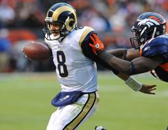 Rams quarterback Sam Bradford had the first 300-yard passing game of his career in Sunday's defeat of the Broncos.