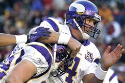 Vikings QB Brett Favre led his team to a win in Washington on Sunday.