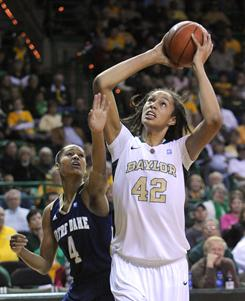 Brittney Griner, right, scored 21 points to help No. 3 Baylor hold off No. 16 Notre Dame on Wednesday.