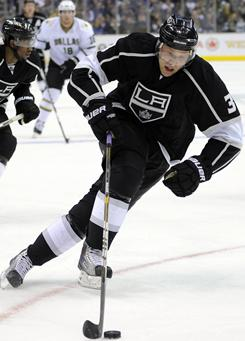"""Kings defenseman Jack Johnson, a former Michigan player, says of college hockey: """"There are more college programs becoming more competitive across the country. It's not just a select few."""""""