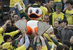 Ducks fans hope Oregon can clinch a spot in the national title game with a win over Oregon State on Saturday.