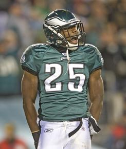 Philadelphia Eagles running back LeSean McCoy celebrates after rushing for a touchdown in the second quarter of their 34-24 victory.
