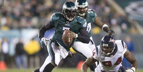Michael Vick passed for 302 yards, two touchdowns and added a rushing score in the Eagles' 34-24 win over the Texans at Lincoln Financial Field in Philadelphia.