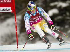 Lindsey Vonn, who worked her agility after a record 11 World Cup wins last season followed by Olympic gold, races down the course on her way to the seventh fastest time in the third training run at the women's World Cup downhill ski race in Lake Louise, Alberta on Thursday.
