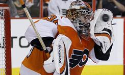 Flyers goalie Sergei Bobrovsky couldn't stop this shot by the Devils' Ilya Kovalchuk in the first period, but he did come up with 23 saves Saturday to help Philadelphia to a 5-3 win.