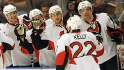 Ottawa's Chris Kelly is congratulated by teammates after scoring the second goal in the third period.