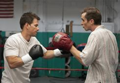 "Christian Bale, right, says for his role in ""The Fighter"" he was trained by and remains friends with Dickie Eklund, his movie namesake. Mark Wahlberg, a producer for the film, plays Eklund's half-brother Micky Ward."