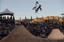 TJ Lavin competes at the Salt Lake Dew Tour stop in September 2010. A crash in an event the following month left Lavin with mounting medical bills. Members of the action sports community held a fundraiser in Las Vegas on Dec. 3 to assist Lavin and fellow athlete Ty Pinney.