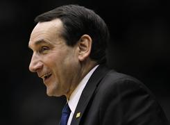 Duke coach Mike Krzyzewski notched his 877th career victory Wednesday night, moving him past Kentucky great Adolph Rupp into sole possession of third place on the all-time wins list.