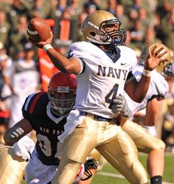 Navy quarterback Ricky Dobbs leads the Midshipmen's fifth-ranked rushing offense with 806 yards on the ground and 13 touchdowns.