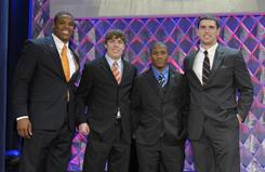 The four Heisman Trophy finalists: Auburn quarterback Cam Newton, left, Boise State quarterback Kellen Moore, Oregon running back LaMichael James and Stanford quarterback Andrew Luck.