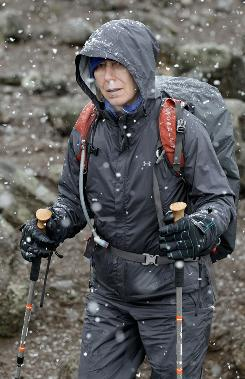 Martina Navratilova continues her climb in heavy snow up Mount Kilimanjaro this week.