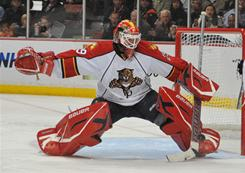 Panthers general manager Dale Tallon will have to make a major decision regarding Tomas Vokoun, blocking a shot on Dec. 1. The goaltender will be an unrestricted free agent this summer.