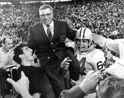 Green Bay Packers coach Vince Lombardi, being carried off the field after Super Bowl II, is the subject of a new documentary airing at 8 p.m. ET Saturday on HBO.