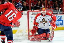 Panthers goalie Tomas Vokoun, making a save against the Capitals' Eric Fehr, blanked Washington 3-0 to earn his third shutout of the season.