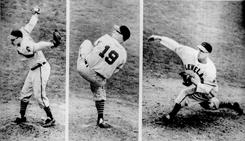 Cleveland Indians' Bob Feller hurled a no-hitter, (1st photo of sequence, LEFT), July 1,1951 with a 2-1 win over the Detroit Tigers. Photo #2 of the sequence, (middle), shows Feller pitching his first no-hitter, April 16, 1940 against the Chicago White Sox. Photo #3 of the sequence, (right), shows Feller pitching against the Boston Braves in the 1948 World Series. Feller lost both of the two games he pitched but the Indians won the Series.