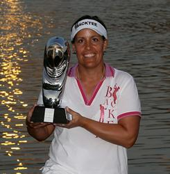 Danish LPGA veteran Iben Tinning poses with her Dubai Ladies Masters trophy. Tinning, who is retiring after 15 seasons on tour, claimed her first victory since 2005.