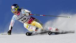 Lindsey Vonn of the United States speeds down the course during the first run of an alpine ski, women's World Cup giant slalom race in St. Moritz, Switzerland on Sunday.