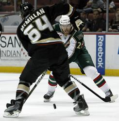 Ducks center Brandon McMillan, left, and Wild left wing Martin Havlat vie for the puck in the first period Sunday in Anaheim, Calif.