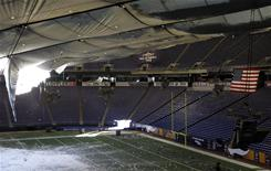 Fox Sports left its cameras on overnight and captured video of the Metrodome roof collapsing. This photo was taken after the roof caved in.