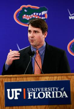 Former Texas defensive coordinator Will Muschamp speaks to the news media after being introduced as head coach at Florida on Tuesday in Gainesville, Fla. Muschamp is replacing Urban Meyer, who resigned Dec. 8.