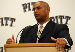 New Pittsburgh head football coach, Mike Haywood, speaks during a press conference on Thursday at the University of Pittsburgh Panthers South Side training facility in Pittsburgh, Penn.