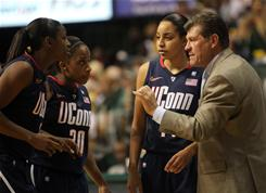 Connecticut Huskies head coach Geno Auriemma and players Tiffany Hayes, Lorin Dixon and Bria Hartley could make sports history this weekend. But will anyone notice?