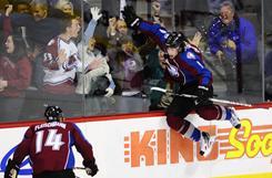 Colorado Avalanche center Matt Duchene celebrates after scoring the winning goal in overtime against the Ottawa Senators.
