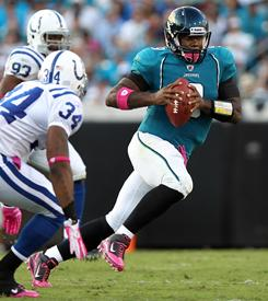 Jaguars QB David Garrard has three games left to break Mark Brunell's franchise record for TD passes in a season.