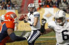 Quarterback Jake Heaps threw for 264 yards and four touchdowns to lead BYU to a convincing 52-24 win over UTEP in the New Mexico Bowl on Saturday in Albuquerque.