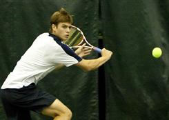 Ryan Harrison sets up for a backhand during his victory Sunday against Jack Sock in the USTA Australian Open Wild-Card Playoff at the Racquet Club of the South in Norcross, Ga.