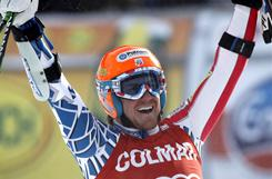 Ted Ligety celebrates after winning a World Cup giant slalom race, in Alta Badia, Italy, on Dec. 19. Ligety won his third straight giant slalom race.