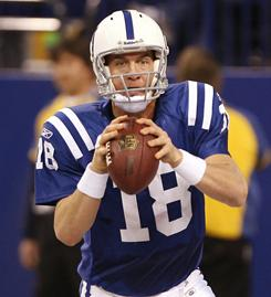 Peyton Manning and the Colts are tied atop the AFC South with the Jacksonville Jaguars at 8-6.