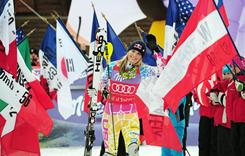 Lindsey Vonn celebrates after her victory in the World Cup women's super combined, on Dec. 19 in Val-D'Isere, France.