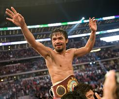 Manny Pacquiao, celebrating, will fight Shane Mosley in Las Vegas on May 7.